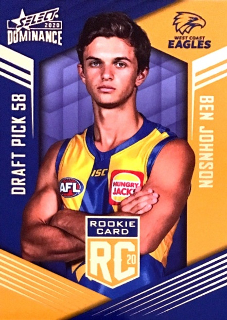 2020 AFL SELECT DOMINANCE WEST COAST EAGLES BEN JOHNSON DRAFT PICK ROOKIE CARD