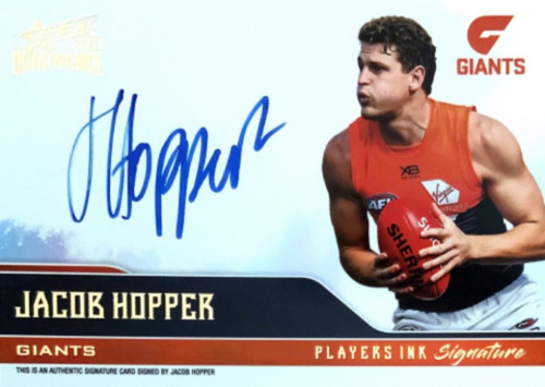 2020 AFL SELECT DOMINANCE JACOB HOPPER GREATER WESTERN SYDNEY GIANTS PLAYERS INK SIGNATURE CARD