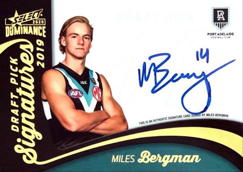 2020 AFL SELCT DOMINANCE MILES BERGMAN PORT ADELAIDE POWER DRAFT PICK SIGNATURE CARD