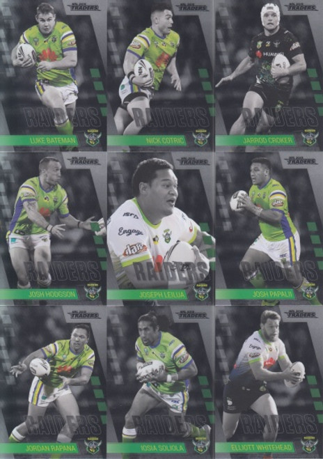 2019 NRL TRADERS CANBERRA RAIDERS MINI PARALLELTEAM SET
