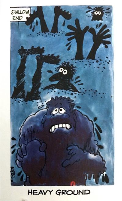 1973 WEGS Sunicrust Fantastic Footy Cartoons #29 HEAVY GROUND card (competition back)
