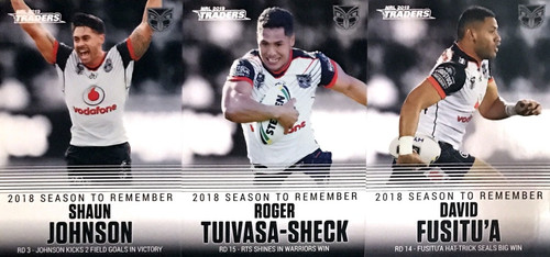 2019 NRL TRADERS NEW ZEALAND WARRIORS 2018 SEASON TO REMEMBER CARDS