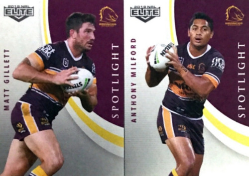 2019 NRL  ELITE MILFORD & GILLETT BRISBANE BRONCOS SPOTLIGHT CARDS