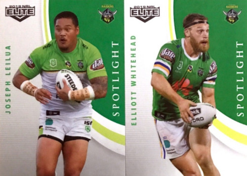2019 NRL ELITE WHITEHEAD & LEILUA CANBERRA RAIDERS SPOTLIGHT CARDS