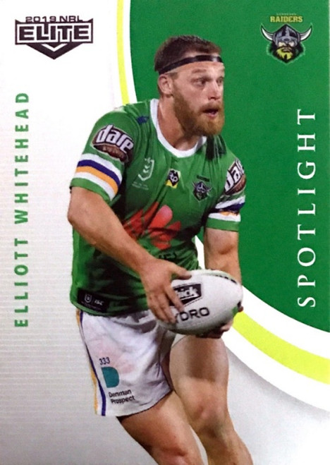2019 NRL ELITE ELLIOTT WHITEHEAD CANBERRA RAIDERS SPOTLIGHT CARD