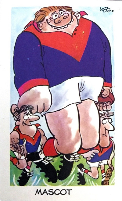 1973 WEGS Sunicrust Fantastic Footy Cartoons #32 MASCOT card (competition back)