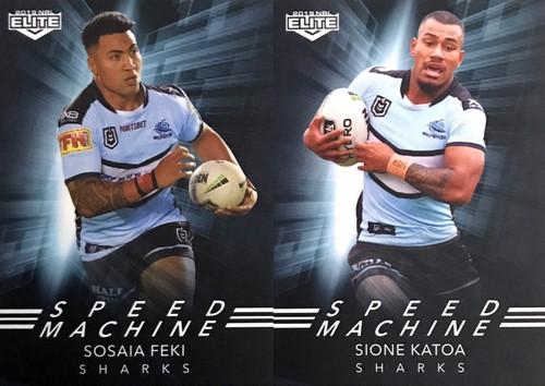 2019 NRL ELITE SOSAIA FEKI & SIONE KATOA CRONULLA SHARKS SPEED MACHINE CARDS