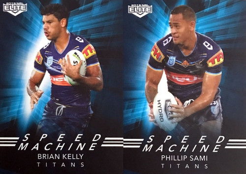 2019 NRL ELITE BRIAN KELLY & PHILLIP SAMI GOLD COAST TITANS SPEED MACHINE CARDS