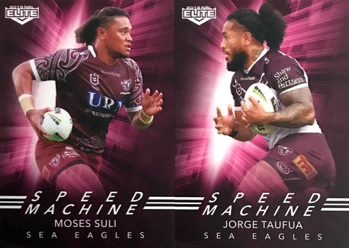 2019 NRL ELITE MOSES SULI & JORGE TAUFUA MANLY SEA-EAGLES SPEED MACHINE CARDS