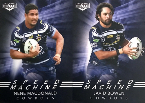 2019 NRL ELITE BOWEN & MACDONALD NTH QUEENSLAND COWBOYS SPEED MACHINE CARDS