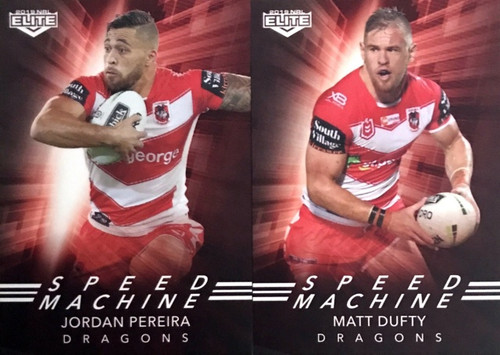 2019 NRL ELITE DUFTY & PEREIRA SAINT GEORGE DRAGONS SPEED MACHINE CARDS