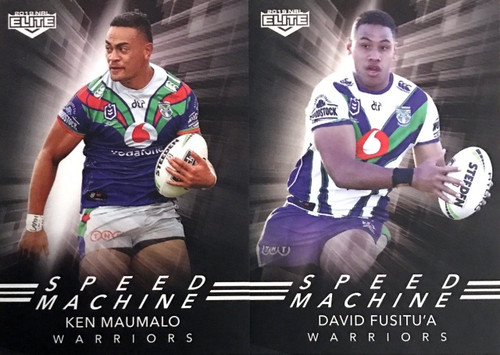2019 NRL ELITE FUSITU'A & MAUMALO NEW ZEALAND WARRIORS SPEED MACHINE CARDS