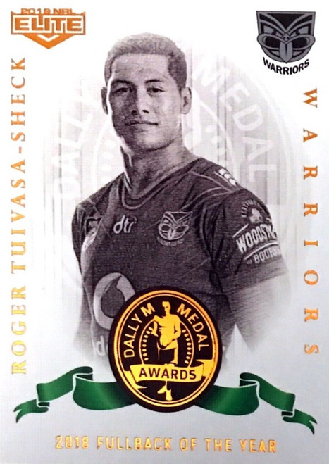 2019 NRL ELITE ROGER TUIVASA-SCHECK NEW ZEALAND WARRIORS DALLY M 2018 FULL BACK OF THE YEAR CARD