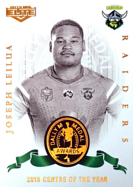 2019 NRL ELITE JOSEPH LEILUA CANBERRA RAIDERS DALLY M 2018 CENTRE OF THE YEAR CARD