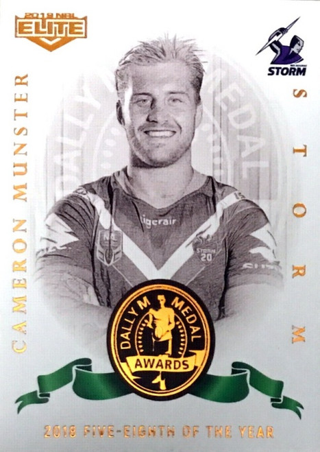 2019 NRL ELITE CAMERON MUNSTER MELBOURNE STORM DALLY M 2018 FIVE-EIGHTHS OF THE YEAR CARD