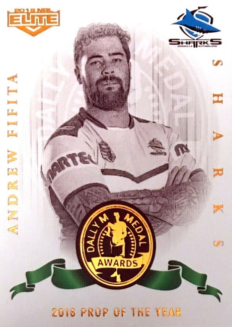 2019 NRL ELITE ANDREW FIFITA CRONULLA SHARKS DALLY M 2018 PROP OF THE YEAR CARD