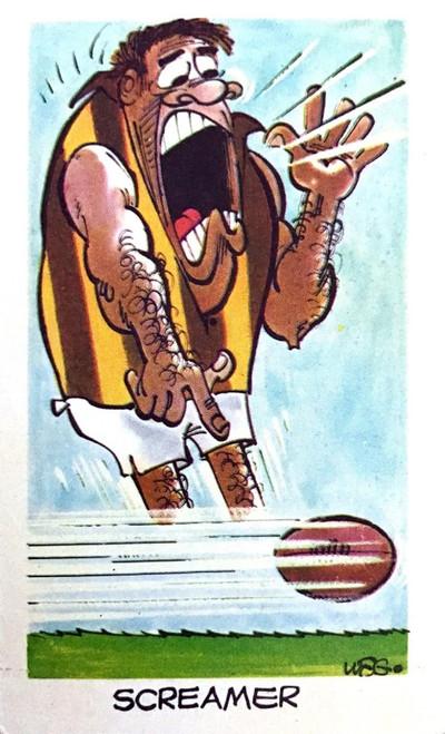 1973 WEGS Sunicrust Fantastic Footy Cartoons #36 SCREAMER Card (competition back)