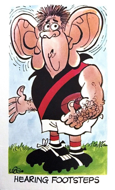 1973 WEGS Sunicrust Fantastic Footy Cartoons #37 HEARING FOOTSTEPS Card (competition back)