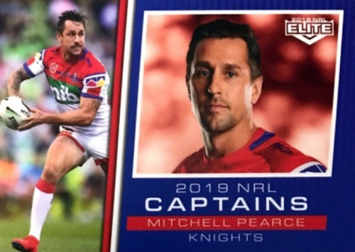 2019 NRL ELITE MITCHELL PEARCE NEWCASTLE KNIGHTS CAPTAINS CARD