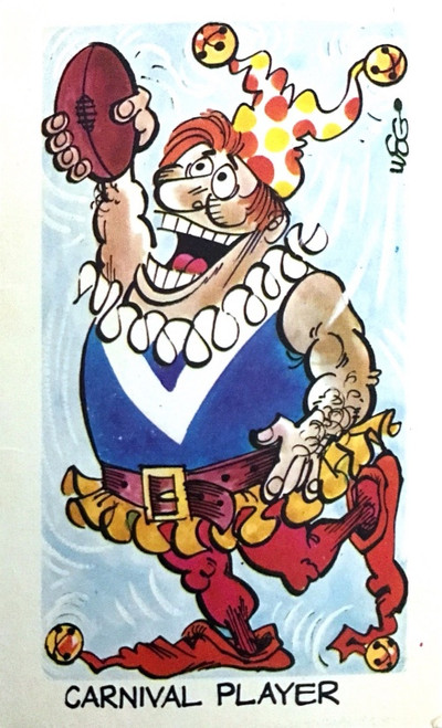 1973 WEGS Sunicrust Fantastic Footy Cartoons #38 CARNIVAL PLAYER Card (competition back)