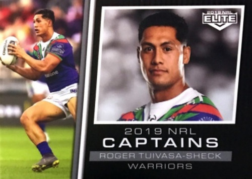 2019 NRL ELITE ROGER TUIVASA-SHECK NEW ZEALAND WARRIORS CAPYAINS CARD