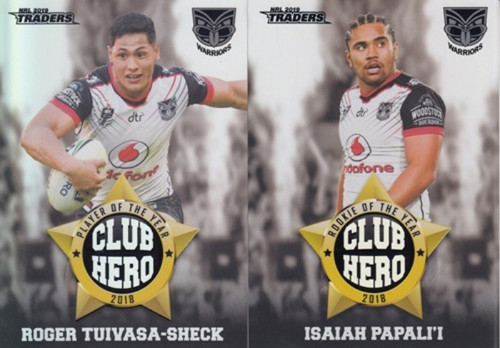 2019 NRL TRADERS NEW ZEALAND WARRIORS CLUB HERO'S CARDS
