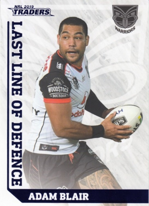2019 NRL TRADERS ADAM BLAIR NEW ZEALAND WARRIORS LAST LINE OF DEFENSE CARD