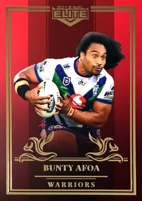 2019 NRL ELITE BUNTY AFOA NEW ZEALAND WARRIORS RUBY MOJO CARD 28/40
