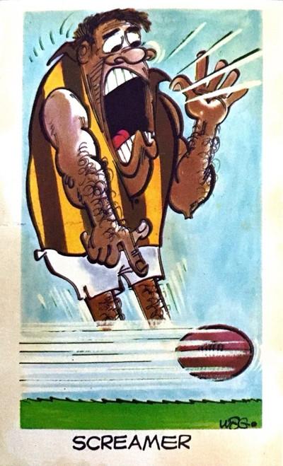 1973 WEGS Sunicrust Fantastic Footy Cartoons SCREAMER (plain back)