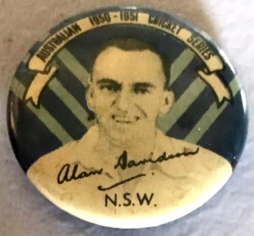 ARGUS ALAN DAVIDSON NSW Australian 1950-1951 Cricket Series Tim Badge