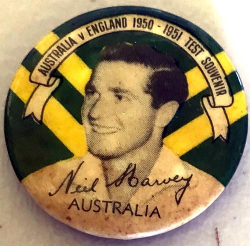 ARGUS Australia V England 1950-1951 Test Series NEIL HARVEY Australia Tin Badge