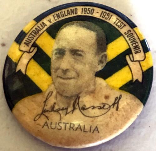 ARGUS Australia V England 1950-1951 Test Series LINDSAY HASSETT Australia Tin Badge