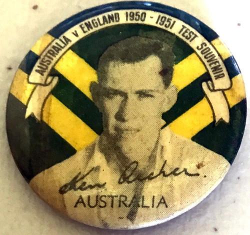ARGUS Australia V England 1950-195 Test Series KEN ARCHER Australia Tin Badge