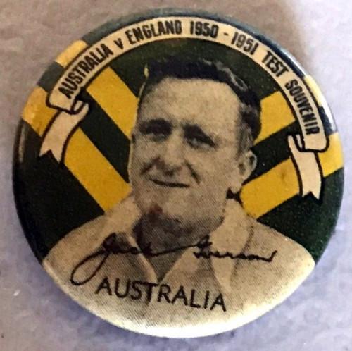 ARGUS Australia V England 1950-1951 Test Series JACK IVERSON Australia Tin Badge