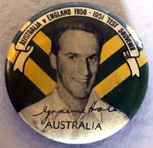 ARGUS Australia V England 1950-1951   Test Series GRAEME HOLE Australia Tin Badge