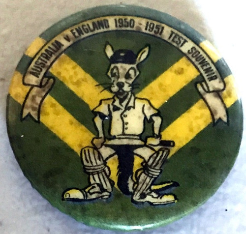 ARGUS Australia V England 1950-1951 Test Series KANGAROO Logo Tin Badge