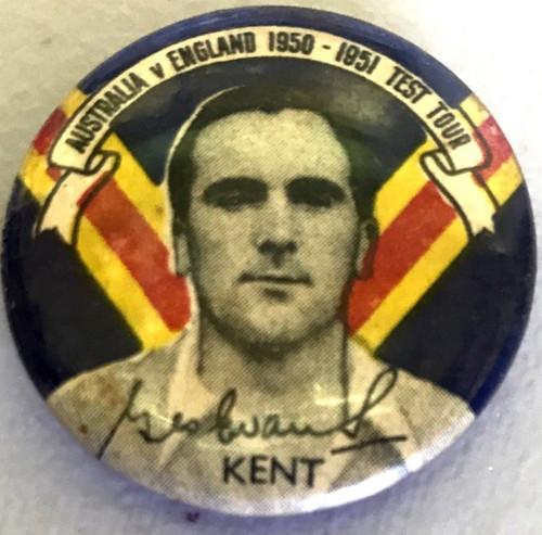 ARGUS Australia V England 1950-1951 Test Series TG EVANS Kent Tin Badge