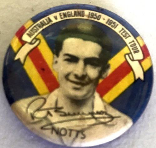 ARGUS Australia V England 1950-1951 Test Series RT SIMPSON Notts Tin Badge