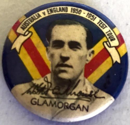 ARGUS Australia V England 1950-1951 Test Series WGA PARKHOUSE Glamorgan Tin Badge