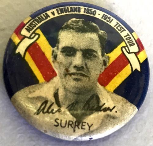 ARGUS Australia V England 1950-1951 Test Series Alec Bedser Surrey Tin Badge