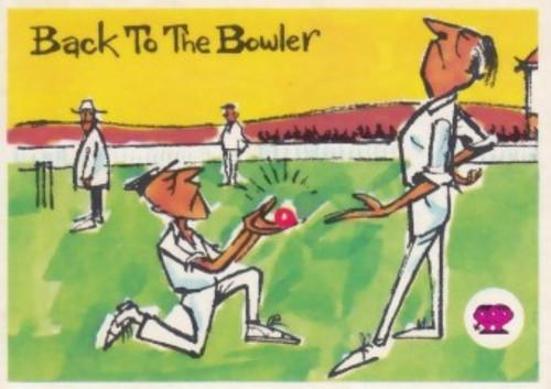 """1967 Scanlens Krazy Kricket Card """"BACK TO THE BOWLER"""""""
