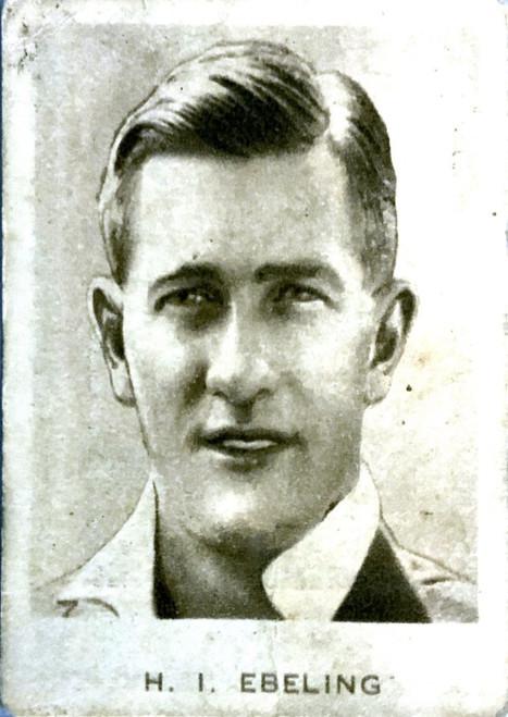 1934 Dudgeon & Arnell (Patrol Tobacco) #14 H I EBLING Australian Test Team Card