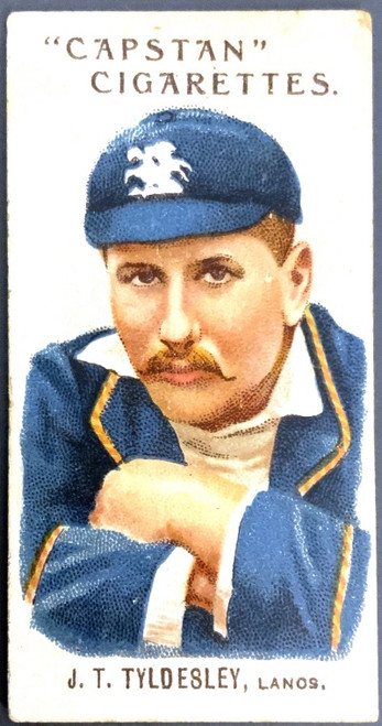1907 Capstan Cigarettes J T TYLDBLEY Lancs. Australian & English Cricketers Card
