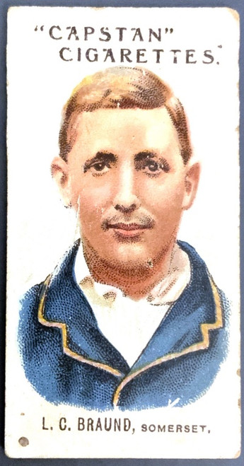 1907 Capstan Cigarettes L C BRAUND Somerset Australian & English Cricketers Card