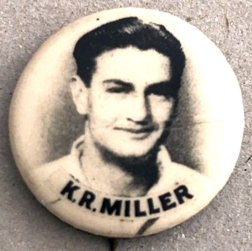 1940s Vintage K R MILLER Australian Cricketers Tin Badge