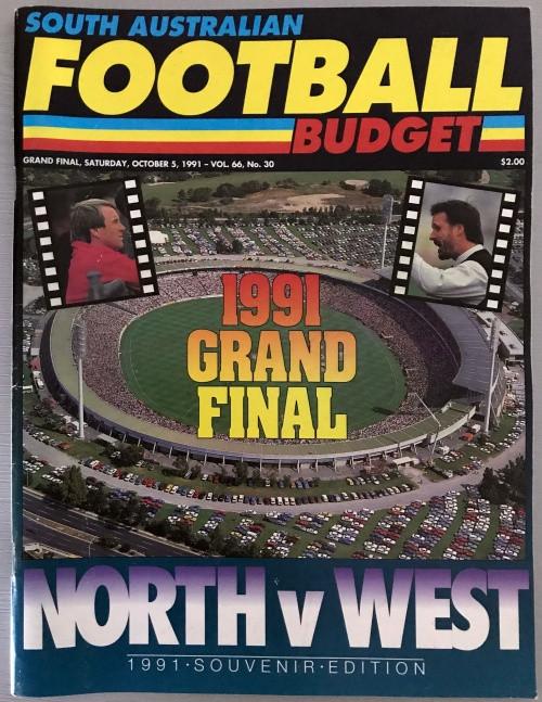 1991 South Australian Football Budget NORTH ADELAIDE v WEST ADELAIDE GRAND FINAL SOUVENIR EDITION
