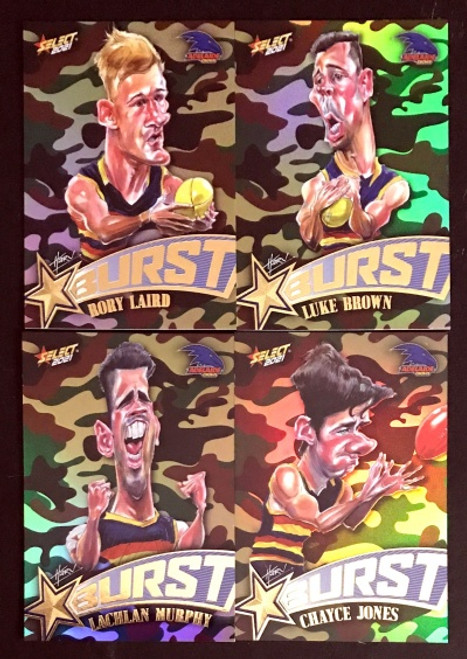 2021 AFL SELECT FOOTY STARS ADELAIDE CROWS CAMO STARBURST CARICATURE SET