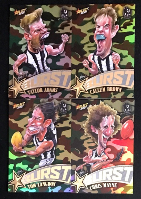 2021 AFL SELECT FOOTY STARS COLLINGWOOD MAGPIES CAMO STARBURST CARICATURE SET