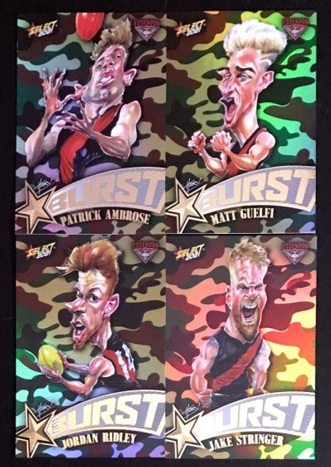 2021 AFL SELECT FOOTY STARS ESSENDON BOMBERS CAMO STARBURST CARICATURE SET