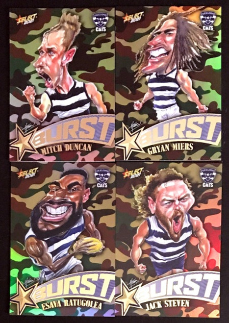 2021 AFL SELECT FOOTY STARS GEELONG CATS CAMO STARBURST CARICATURE SET